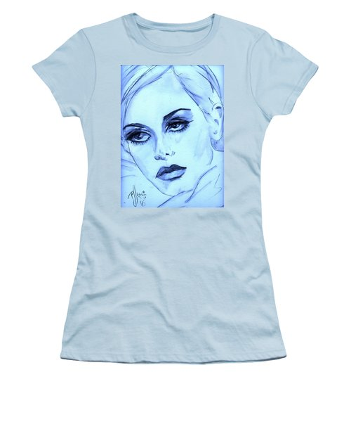 Women's T-Shirt (Junior Cut) featuring the painting Twiggy In Blue by P J Lewis