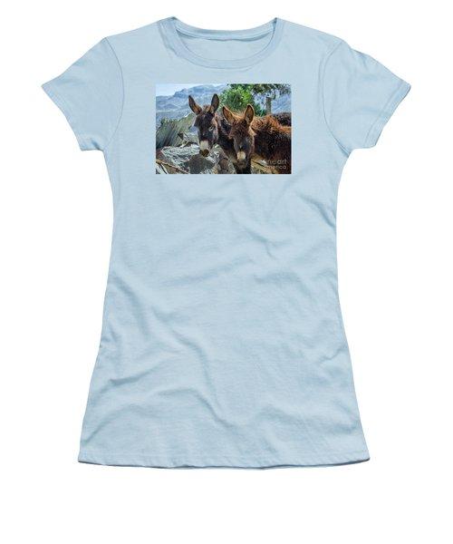 Two Donkeys Women's T-Shirt (Junior Cut) by Patricia Hofmeester