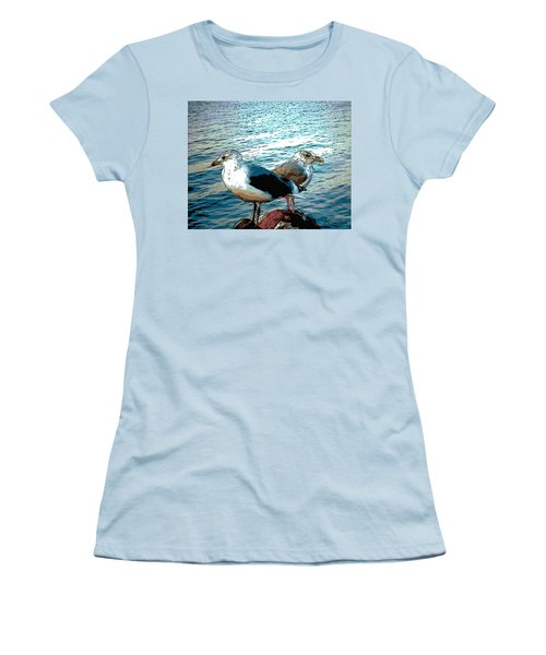 Two Gulls Women's T-Shirt (Junior Cut) by Ann Tracy