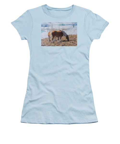 Two Ponies In The Snow Women's T-Shirt (Athletic Fit)