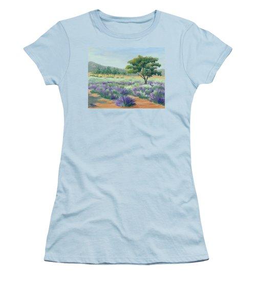 Under Blue Skies In Lavender Fields Women's T-Shirt (Junior Cut) by Sandy Fisher