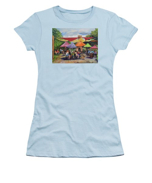 Women's T-Shirt (Athletic Fit) featuring the painting Under The Umbrellas At The Cartecay Vineyard - Crush Festival  by Jan Dappen