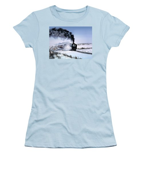 Union Pacific 8444 Steam Locomotive In The Snow Women's T-Shirt (Athletic Fit)