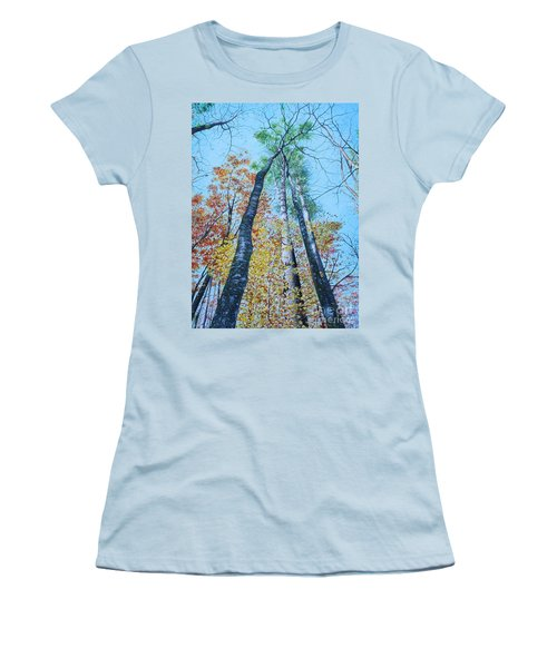 Women's T-Shirt (Junior Cut) featuring the painting Up Into The Trees by Mike Ivey