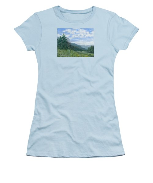 Women's T-Shirt (Junior Cut) featuring the painting Valley View by Kathleen McDermott