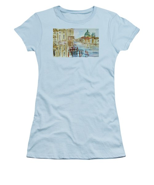 Women's T-Shirt (Junior Cut) featuring the painting Venice Impression IIi by Xueling Zou