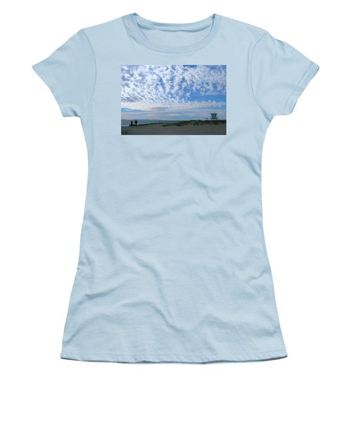 Ventura Beach With Blue Sky And  Puffy Clouds Women's T-Shirt (Athletic Fit)
