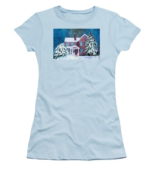 Women's T-Shirt (Junior Cut) featuring the painting Vermont Studio Center In Winter by Donna Walsh