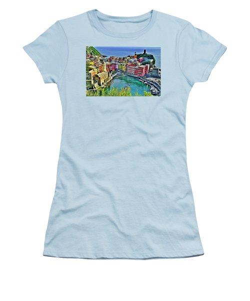 Vernazza Alight Women's T-Shirt (Junior Cut) by Frozen in Time Fine Art Photography