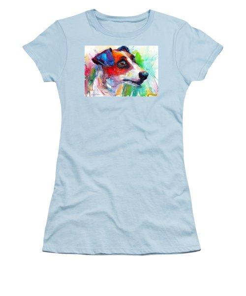 Vibrant Jack Russell Terrier Dog Women's T-Shirt (Junior Cut) by Svetlana Novikova
