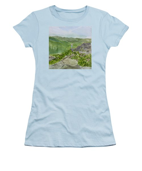 Women's T-Shirt (Athletic Fit) featuring the painting View From Craggy Gardens - A Watercolor Sketch  by Joel Deutsch