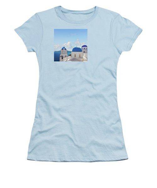Caldera  Of Santorini Women's T-Shirt (Junior Cut) by Anastasy Yarmolovich