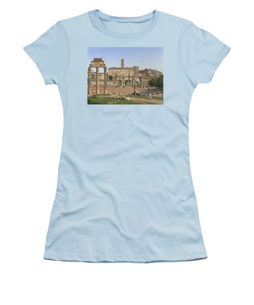 View Of The Forum In Rome Women's T-Shirt (Junior Cut) by Christoffer Wilhelm Eckersberg