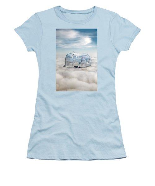 Vintage Camping Trailer In The Clouds Women's T-Shirt (Junior Cut) by Jill Battaglia