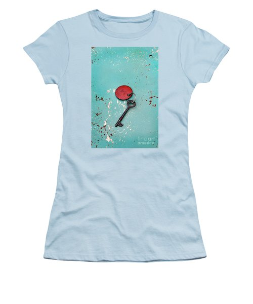 Women's T-Shirt (Junior Cut) featuring the photograph Vintage Key With Red Tag by Jill Battaglia