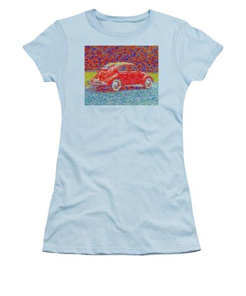 Women's T-Shirt (Junior Cut) featuring the digital art Vw Bug Pez Mosaic by Paul Van Scott