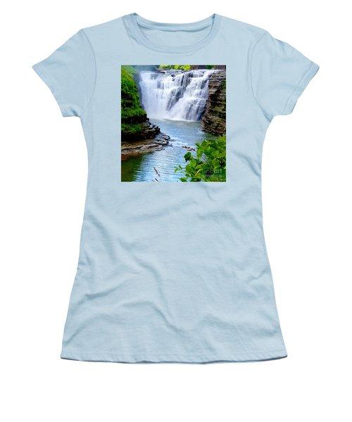 Water Falls Women's T-Shirt (Junior Cut) by Raymond Earley