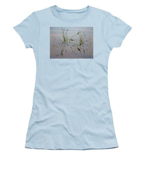 Women's T-Shirt (Athletic Fit) featuring the painting Water Music by Joel Deutsch