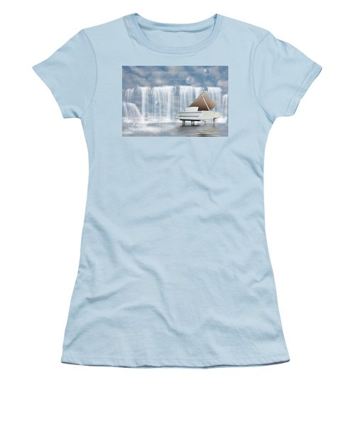 Water Synphony For Piano Women's T-Shirt (Junior Cut) by Angel Jesus De la Fuente