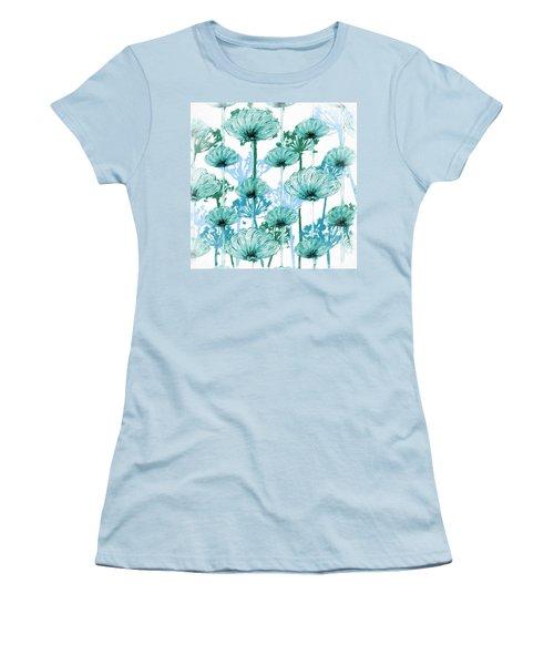 Women's T-Shirt (Junior Cut) featuring the digital art Watercolor Dandelions by Bonnie Bruno