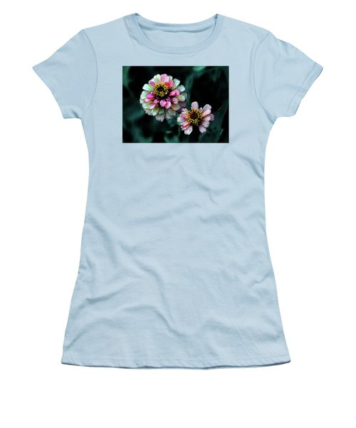 Watercolor Pink Zinnias And Smoke 2227 W_2 Women's T-Shirt (Athletic Fit)