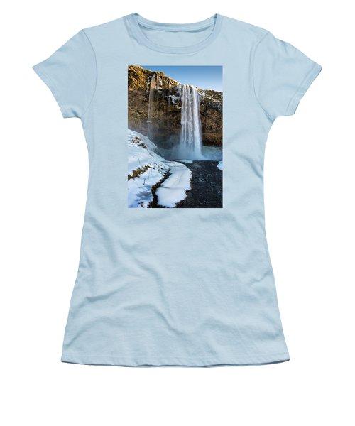 Women's T-Shirt (Junior Cut) featuring the photograph Waterfall Seljalandsfoss Iceland In Winter by Matthias Hauser