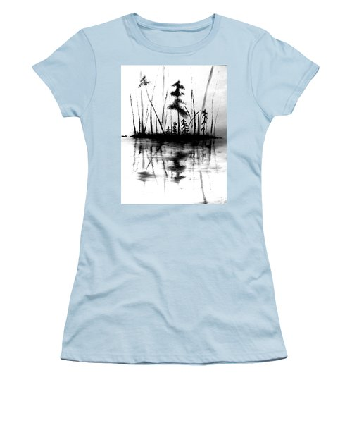 Women's T-Shirt (Athletic Fit) featuring the painting Waters Edge by Denise Tomasura