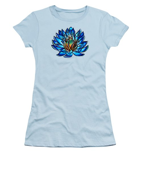 Weird Multi Eyed Blue Water Lily Flower Women's T-Shirt (Athletic Fit)