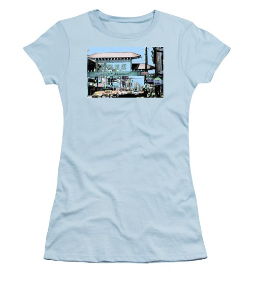 Welcome To Chinatown Sign Blue Women's T-Shirt (Junior Cut) by Marianne Dow