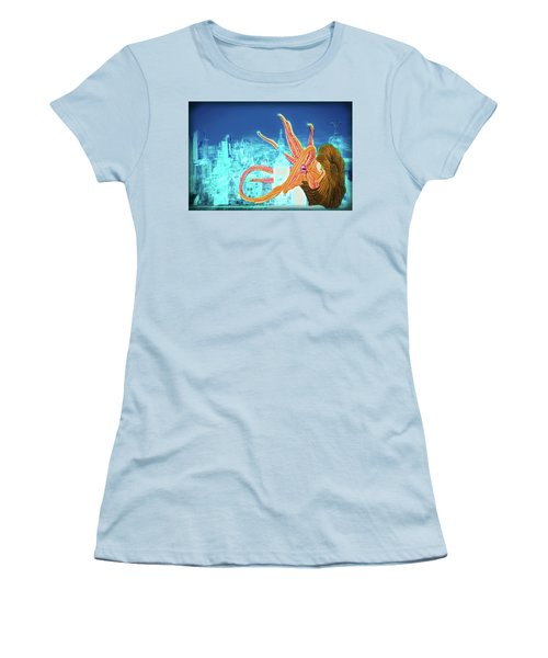 Women's T-Shirt (Athletic Fit) featuring the drawing What Will You Have by John Haldane