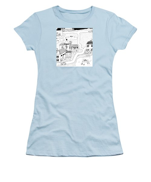 Women's T-Shirt (Junior Cut) featuring the painting Whimsy Town by Lou Belcher