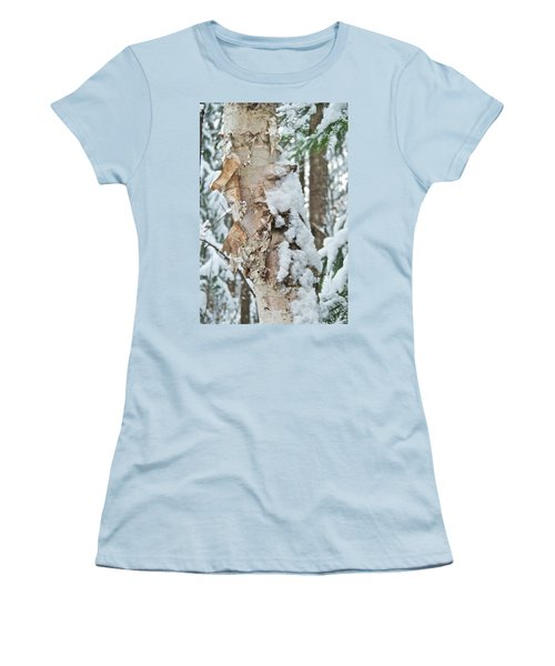 White Birch With Snow Women's T-Shirt (Junior Cut) by Michael Peychich