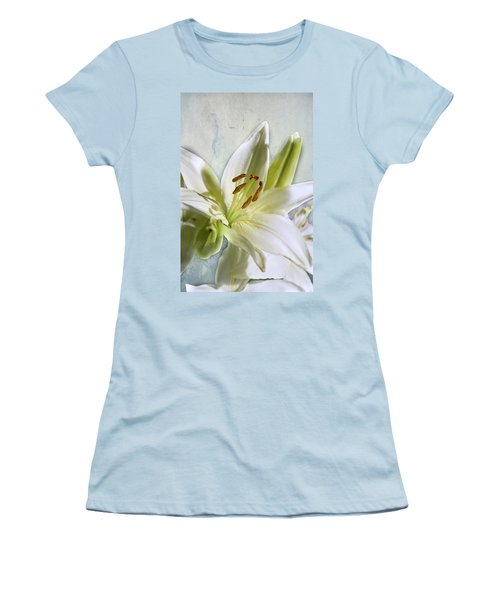 White Lilies On Blue Women's T-Shirt (Junior Cut) by Jacqi Elmslie