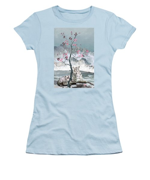 White Tiger And Plum Tree Women's T-Shirt (Athletic Fit)