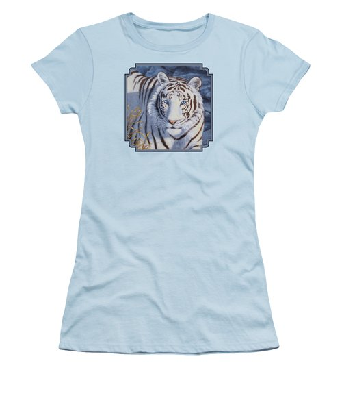 White Tiger - Crystal Eyes Women's T-Shirt (Junior Cut) by Crista Forest