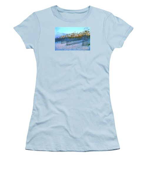 Women's T-Shirt (Junior Cut) featuring the digital art Wind Fence On Beach by Linda Olsen