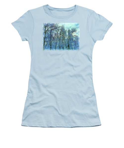 Winter Blue Forest Women's T-Shirt (Athletic Fit)
