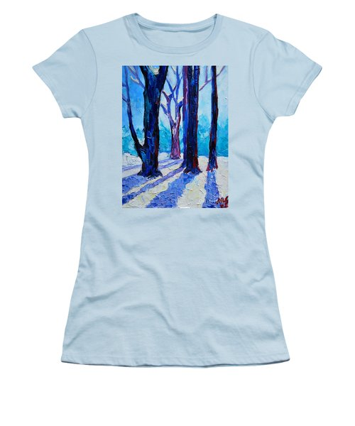 Women's T-Shirt (Junior Cut) featuring the painting Winter Impression by Ana Maria Edulescu