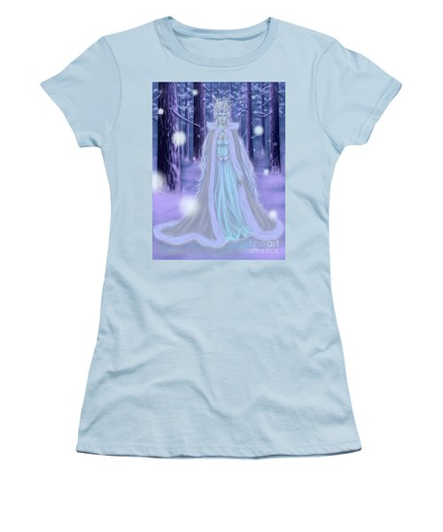 Women's T-Shirt (Junior Cut) featuring the painting Winter Queen by Amyla Silverflame