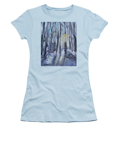 Women's T-Shirt (Athletic Fit) featuring the painting Winter Sun by Robin Maria Pedrero
