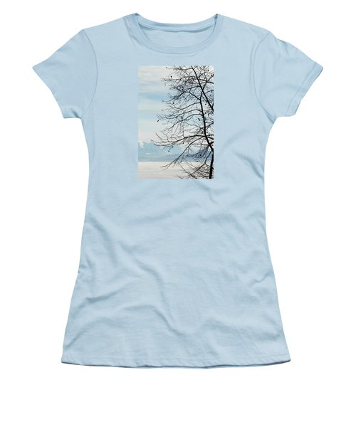 Winter Tree And Alps Mountains Upon The Fog Women's T-Shirt (Junior Cut) by Elenarts - Elena Duvernay photo