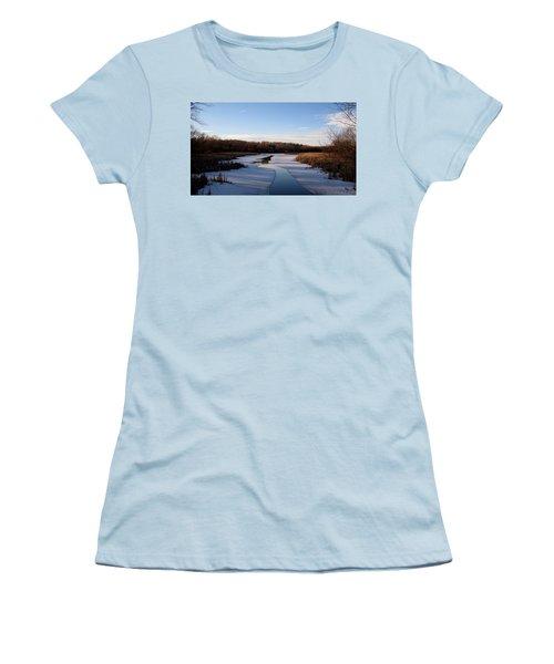 Winter Waters At Lake Kegonsa Women's T-Shirt (Junior Cut) by Kimberly Mackowski