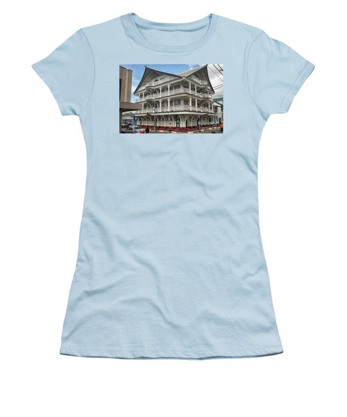 Wooden House In Colonial Style In Downtown Suriname Women's T-Shirt (Junior Cut) by Patricia Hofmeester