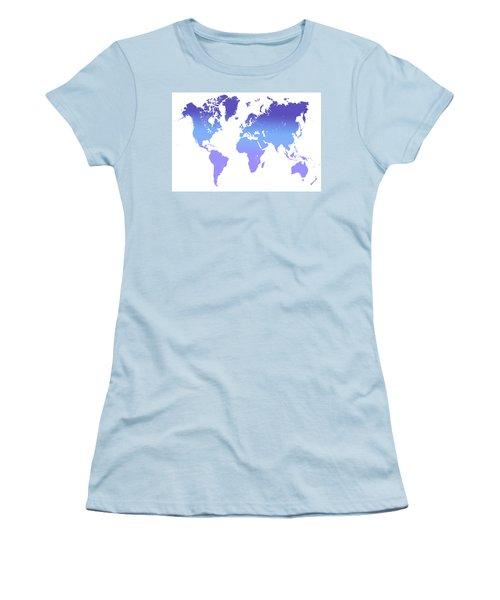 Women's T-Shirt (Athletic Fit) featuring the photograph World Map Abstract. Blue Purple by Jenny Rainbow
