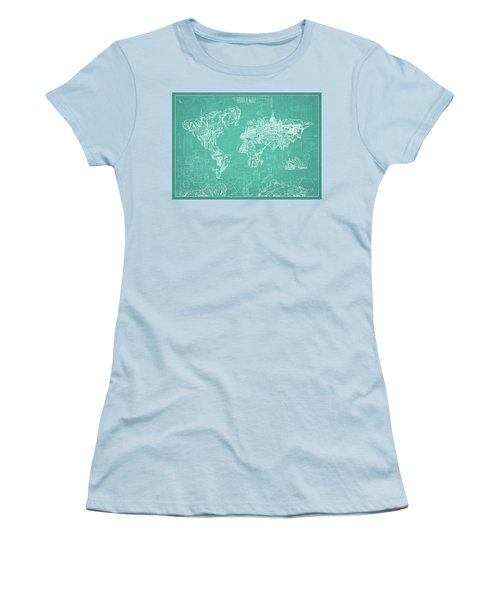 Women's T-Shirt (Junior Cut) featuring the digital art World Map Blueprint 7 by Bekim Art