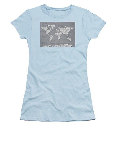 Women's T-Shirt (Junior Cut) featuring the digital art World Map Music 11 by Bekim Art