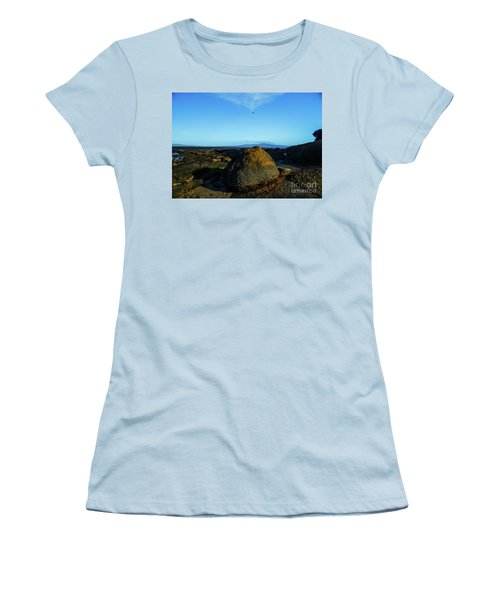 Women's T-Shirt (Athletic Fit) featuring the photograph Yanakie Rocks by Angela DeFrias
