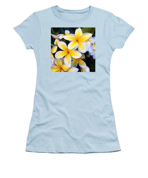 Yellow And White Plumeria Women's T-Shirt (Athletic Fit)