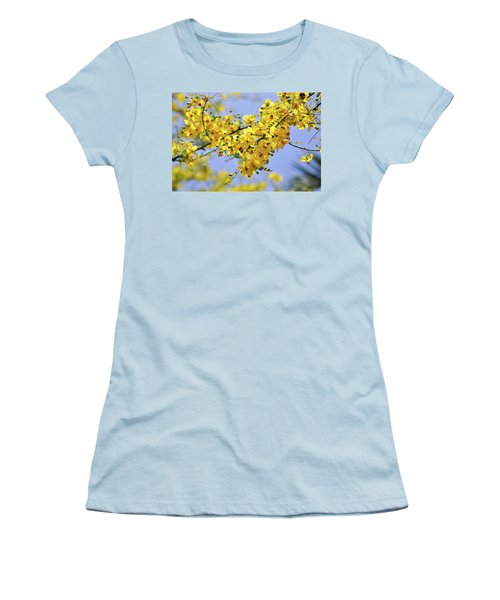 Women's T-Shirt (Junior Cut) featuring the photograph Yellow Blossoms by Gandz Photography