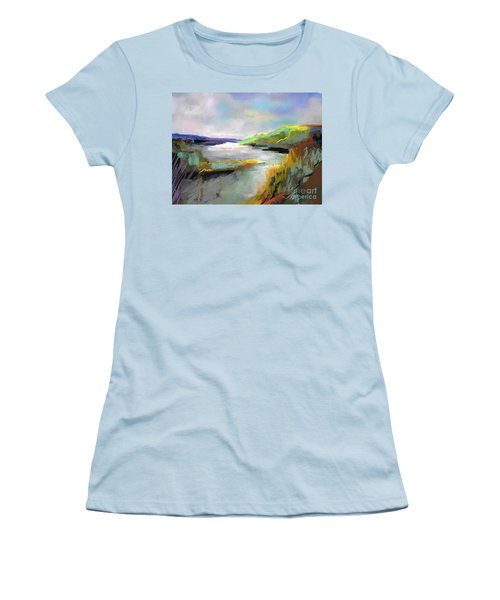 Women's T-Shirt (Junior Cut) featuring the painting Yellow Mountain by Frances Marino